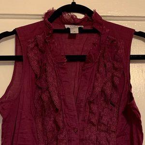 Loft v-neck lace trim button blouse
